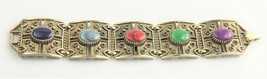 "7.5"" VINTAGE ESTATE Jewelry RETRO ORNATE FX GEMSTONE CHUNKY LINK BRACELET - $20.00"