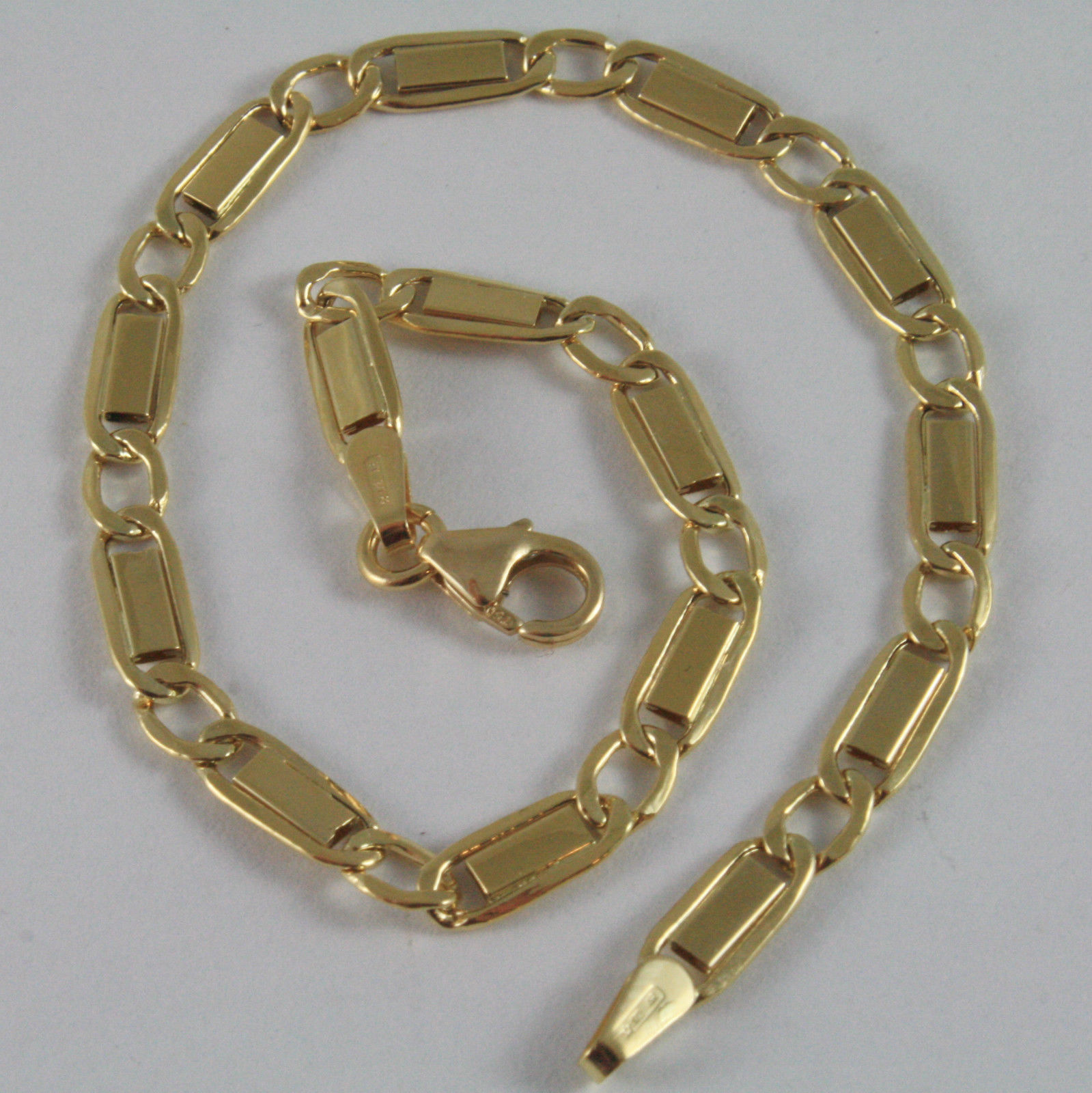 SOLID 18K YELLOW GOLD BRACELET WITH FLAT ALTERNATE 4 MM OVAL LINK, MADE IN ITALY