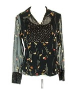 NWOT ECI Size M Beaded Silk Fitted Blouse Top - $18.99