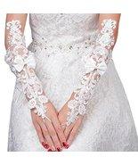 Elegant Lady Formal Banquet Party Bride Pierced Lace Wedding Gloves Brid... - $15.06