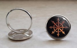 Choose Color Chaos Wheel Symbol 925 Sterling Silver Ring - $39.00
