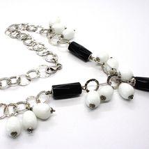 Halskette Silber 925, Onyx Schwarz, Achat Weiß Tropf , Wasserfall Anhänger image 5