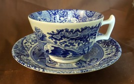 Spode England Blue & White ITALIAN Pattern Cup & Saucer  - $15.00