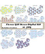 Flower Gift Box-Digtial Kit-Art Clip-Gift Tag-Jewelry-Mothers Day-Scrapbook - $4.99