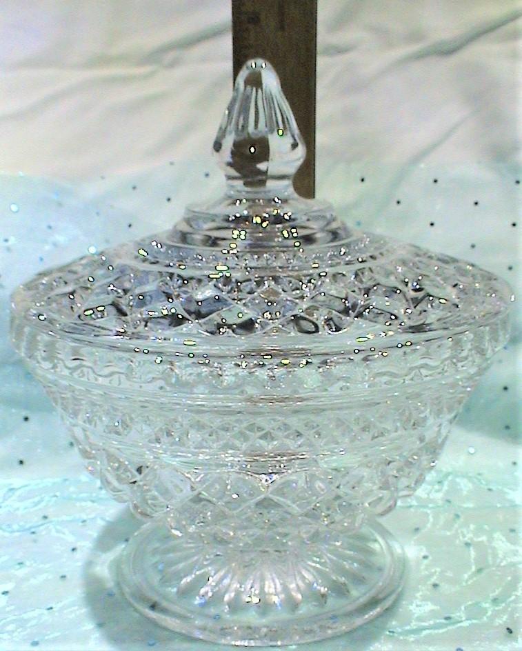 "Vintage Anchor Hocking ""Wexford"" Diamond Cut Lidded Candy Dish Bowl - $29.95"