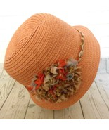 August Hat Co Peach Paper Straw Large Decorated Trim Cloche Hat - $15.55