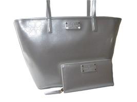 Kate Spade Logo Purse Hand Bag Tote & Wallet Set 2 Piece Matching Silver... - $257.39
