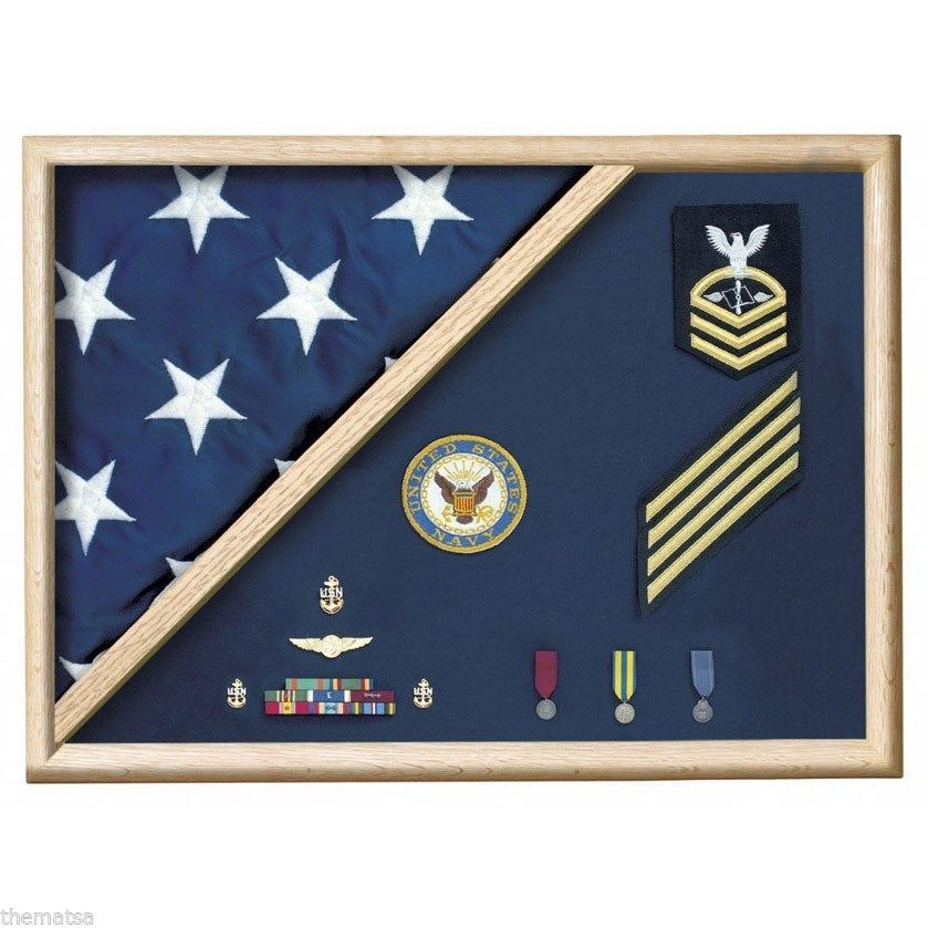 Primary image for USA MADE OAK  WOOD 5 X 9.5 MEMORIAL FLAG FOLDED CORNER DISPLAY CASE SHADOW BOX