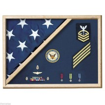 USA MADE OAK  WOOD 5 X 9.5 MEMORIAL FLAG FOLDED CORNER DISPLAY CASE SHAD... - $360.99