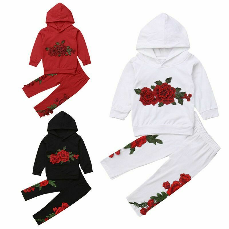 Fashion Toddler Baby Girl Floral Hooded Top Long Pants Outfits Clothes Tracksuit image 3