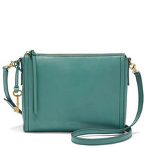 Fossil Emma EW Teal Green Leather Zipper Closure Back Slide Pocket Cross... - $279.99