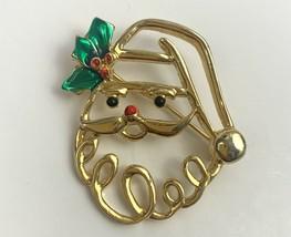 Santa Brooch Pin Vintage Signed AAi Gold Tone Open Work Enamel Holiday C... - $12.82