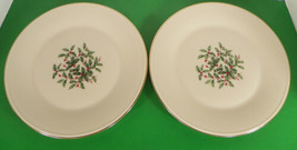 Lenox Presidential Special Dinner Plate (S) Lot Of 2 Holiday Small Holly Decal - $35.59