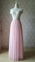 LIGHT PINK Full Length Tulle Skirt Plus Size High Waist Pink Tulle Skirt image 5