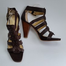 Enzo Angiolini Shoes Heels Brown Sandals Strappy Caged Womens Size 8.5 M - $49.46
