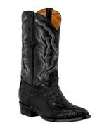 Mens Black Western Boots Crocodile Tail Skin Genuine Leather Cowboy J Toe - €236,23 EUR