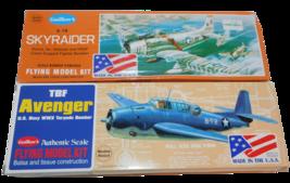 2 Guillow's Flying Model Plane Kits A-1H Skyraider #904 & TBF Avenger #509 - $38.65