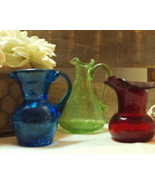 Mid Century Glass Vases Crackle Glass Green, Blue, Red Hand Blown Art Glass - $22.00