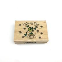 Vintage Make my Day Frog w Flowers Rubber Stamp Westwater Enterprises Annie Lang - $10.39