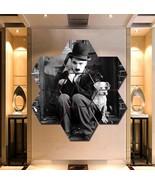 Charlie Chaplin Wall Art Canvas Painting Poster Decor 7 Hexagon Panels F... - $94.99+