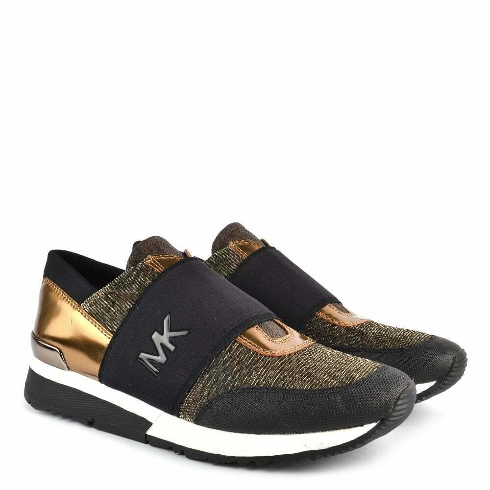 Michael Kors MK Women's Chain Mesh Trainers Shoes Sneakers Black/Bronze