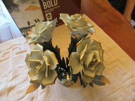 Capodimonte , Made In Italy, Porcelain & Metal , Roses & Gold Trim , Vintage - $95.00