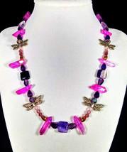 "17 1/2"" Genuine pink quartz, flourite, silver dragonflies, swarovski cry... - $85.00"