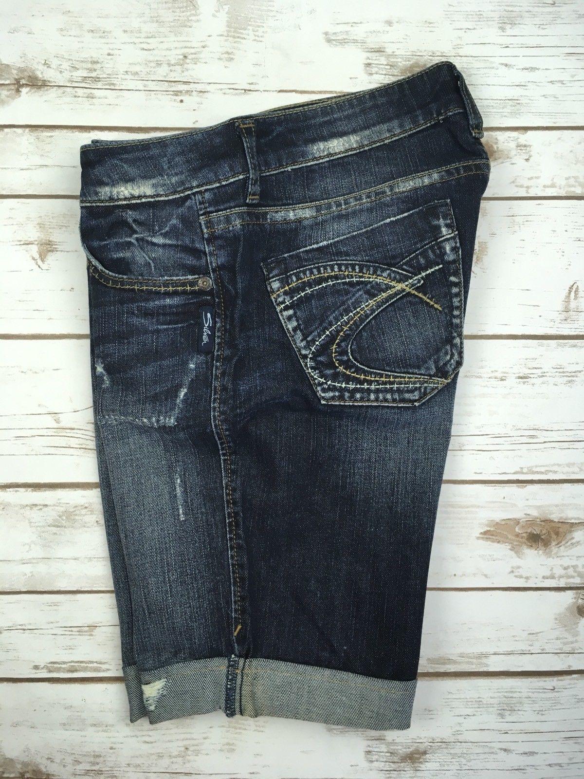 SILVER JEANS SHORTS Buckle Mid Rise Lola Denim Jean Stretch Cuffed Shorts 29 New