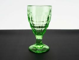Hazel Atlas Colonial Block Green Goblet, Depression Glass Modernistic 5 ... - $9.80