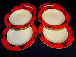 AA  Mikasa Fine China Negoria Red Designed by Bardi Soup Bowls Lot of 6 ... - $23.33