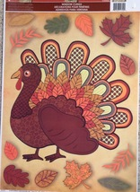 Static Window Clings Thanksgiving Turkey Fall Autumn Leaves New - $8.42