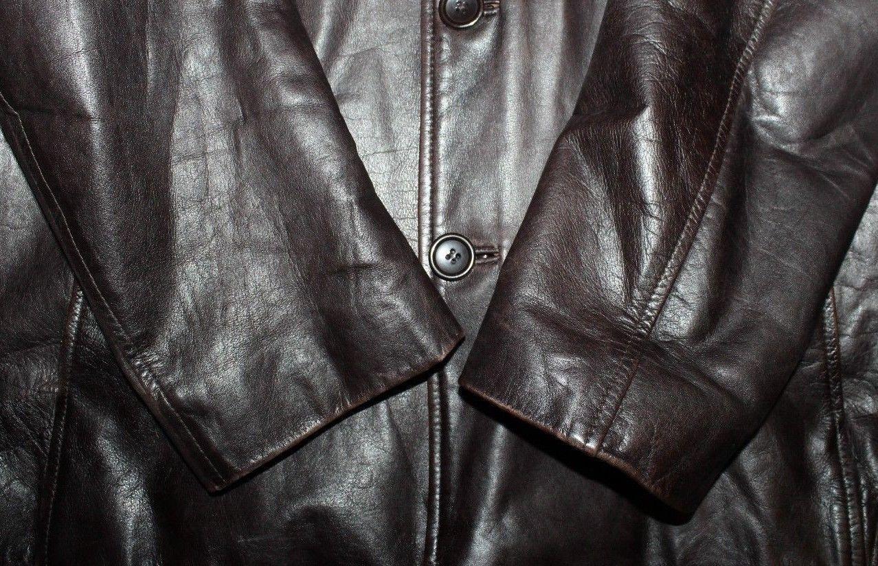 Super Brown Leather ZARA MAN Button Hip Length Biker Casual Jacket Blazer Size L