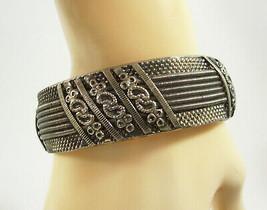 Embossed Silver Tone Bangle Bracelet ANTIQUED  Silvertone Vintage Estate  - $10.89