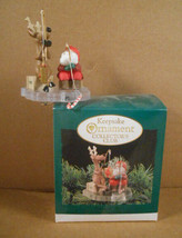 Vintage Hallmark Christmas Ornament 1995 Fishing For Fun Santa Ice Fishing  - $14.95