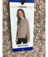 Buffalo David Bitton Women's Hi low Hem Knit Pullover Sweater Rose Sz L - $18.60