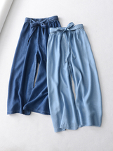 Light Blue Denim Crop PALAZZO PANTS TROUSERS Women Blue Loose Wide Leg Pants  image 4