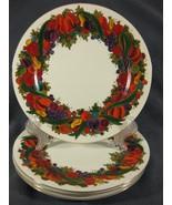 "Bob Mackie Design Fruit & Ribbons Salad Snack Dessert Plates 8"" Lot of 4... - $27.97"