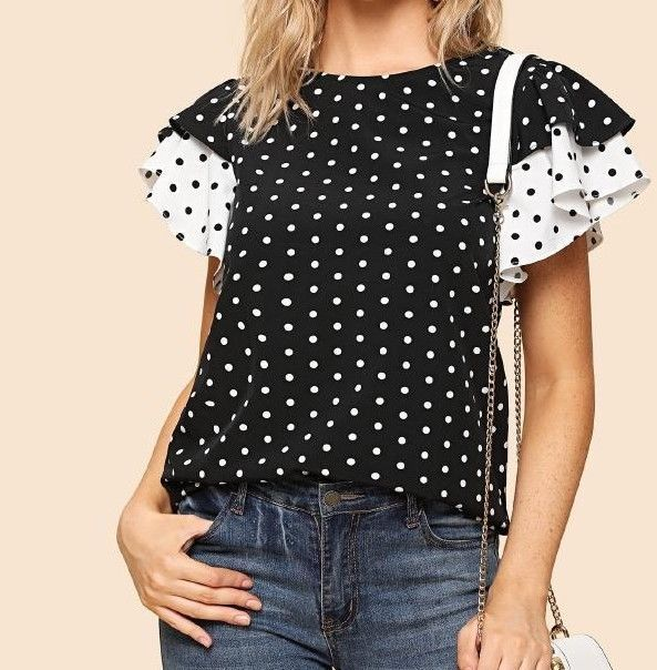 Polka Dot Layered Ruffle Sleeve Keyhole Back Top Casual Summer Blouse