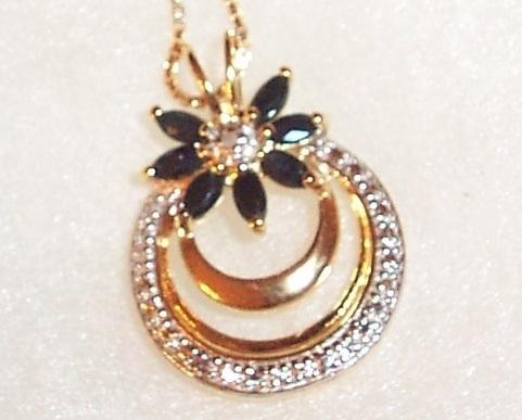 Sapphire Flower Design Necklace Bonanza