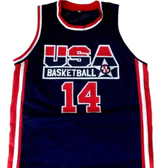 Alonzo mourning  14 team usa basketball jersey navy blue 1