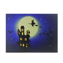 """Northlight Fiber Optic LED Witch in the Moon Halloween Canvas Art 12"""" x ... - $20.68"""