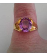 QVC Amethyst Sterling Silver & Gold Ring Sz 7 - $22.00