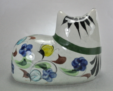 Tonala Mexico Clay Cat Figurine Floral Signed Numbered