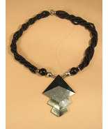 Necklace of Black Beads and Silver Colored Abalone with Silver Colored B... - $20.09 CAD