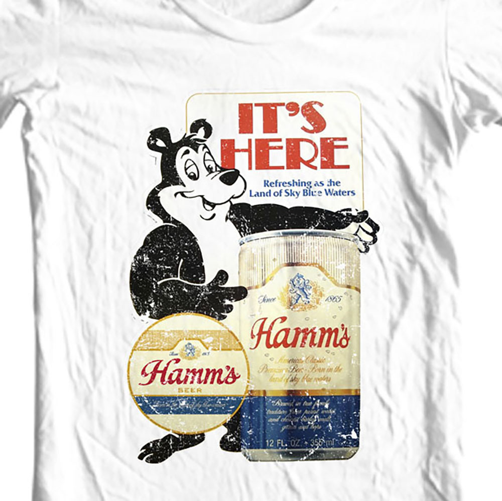 Hamm's Beer T-shirt Bear retro vintage style distressed print cotton graphic tee