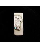 Vintage Genuine turquoise MONEY clip / silver Eagle / Cowboy clip  / Ind... - $85.00