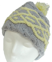 Pale Grey hand knit hat with yellow cable and pom-pom - $21.00