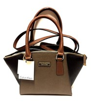 New Calvin Klein Women Saffiano Leather Small Satchel Bag Brown - $106.81