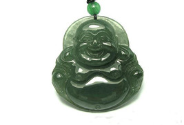 Amulet Natural Oily Green Buddha Jadeite Jade Pendant image 1