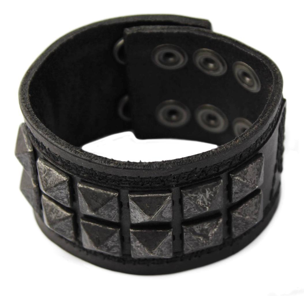 NEW NWT GUESS MEN'S CLASSIC STUDDED CUFF WRISTBAND BRACELET BLACK 102227
